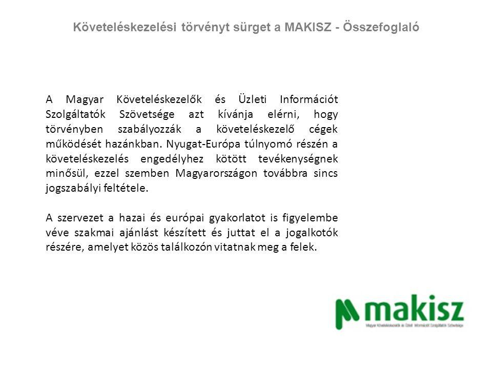 Követeléskezelési törvényt sürget a MAKISZ - Összefoglaló A követeléskezelési törvény kapcsán összesen 23 megjelenés született az alábbiak szerint: TV, rádió: 2 megjelenés Print:5 megjelenés Online: 16 megjelenés