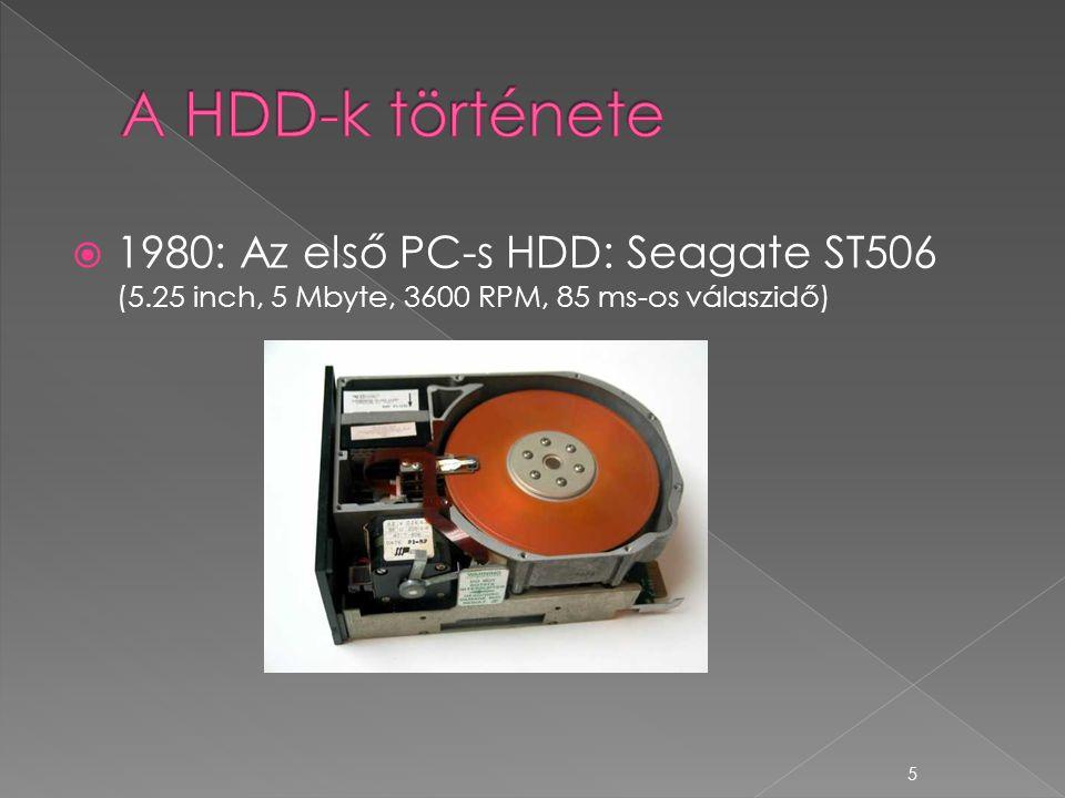  1980: Az első PC-s HDD: Seagate ST506 (5.25 inch, 5 Mbyte, 3600 RPM, 85 ms-os válaszidő) 5