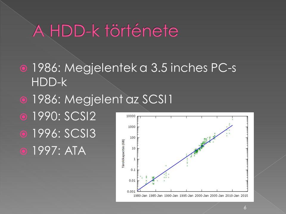  1986: Megjelentek a 3.5 inches PC-s HDD-k  1986: Megjelent az SCSI1  1990: SCSI2  1996: SCSI3  1997: ATA 6