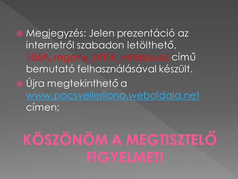  Megjegyzés: Jelen prezentáció az internetről szabadon letölthető, 106A_regeny_ottlik_velasquez című bemutató felhasználásával készült.