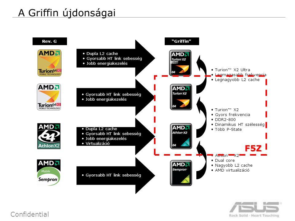 """13 Confidential A Griffin újdonságai Rev. G""""Griffin"""" Dupla L2 cache Gyorsabb HT link sebesség Jobb energiakezelés Gyorsabb HT link sebesség Jobb energ"""