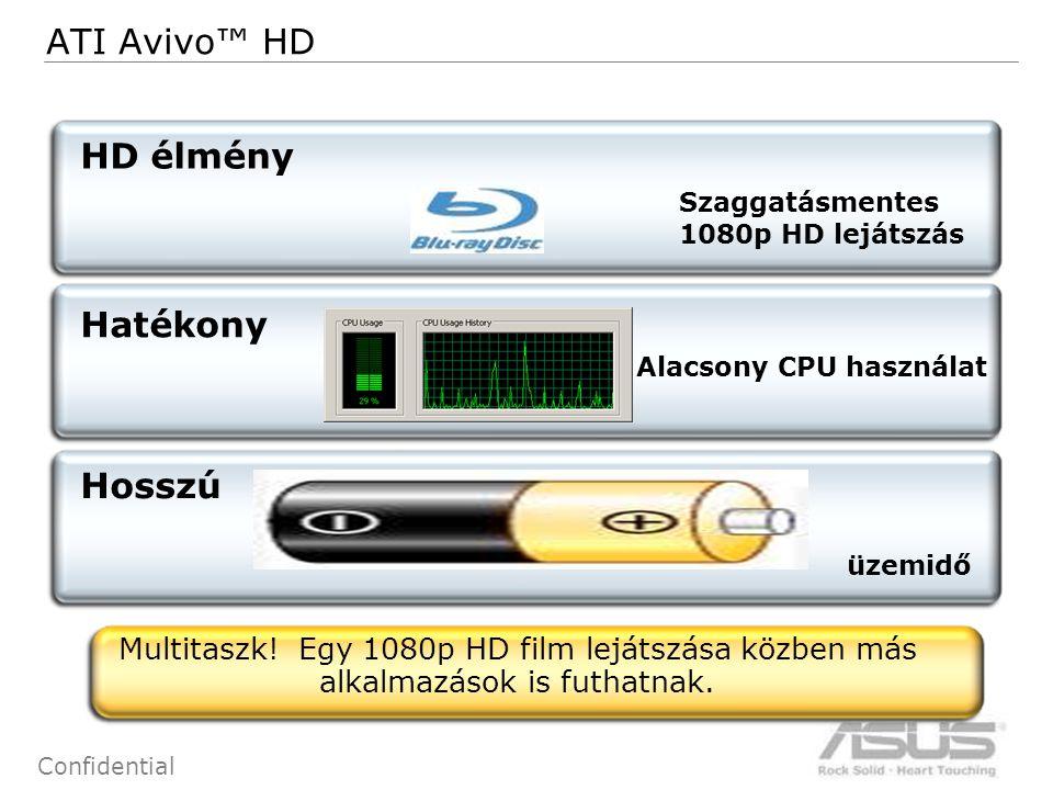15 Confidential 15 ATI Avivo™ HD HD élmény Hatékony üzemidő Alacsony CPU használat Hosszú Szaggatásmentes 1080p HD lejátszás Multitaszk.