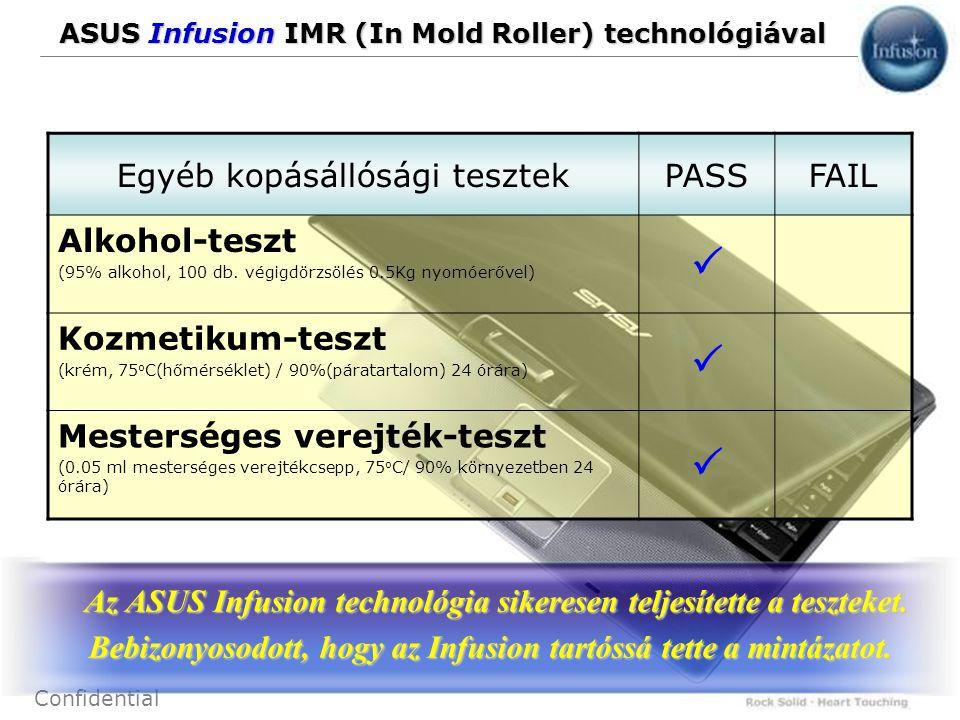 23 Confidential ASUS Infusion IMR (In Mold Roller) technológiával Egyéb kopásállósági tesztekPASSFAIL Alkohol-teszt (95% alkohol, 100 db. végigdörzsöl