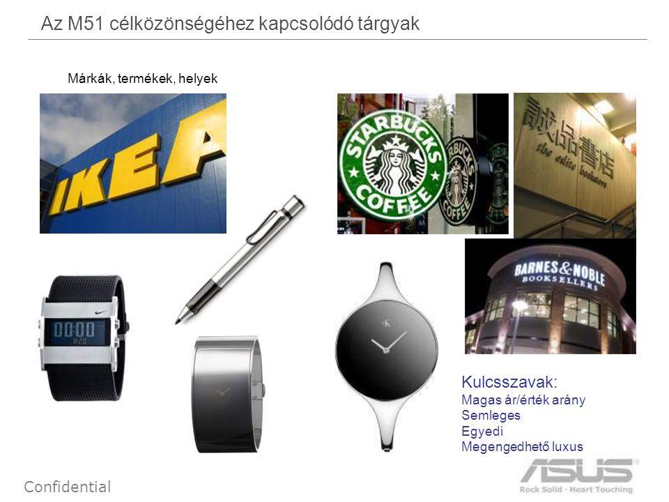 38 Confidential Az M51 célközönségéhez kapcsolódó tárgyak Márkák, termékek, helyek Kulcsszavak: Magas ár/érték arány Semleges Egyedi Megengedhető luxu