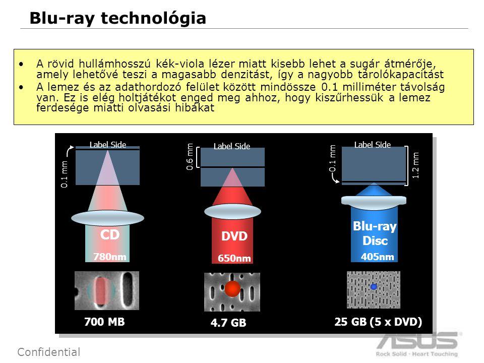 47 Confidential Blu-ray technológia 0.1 mm 4.7 GB 25 GB (5 x DVD) Blu-ray Disc 0.6 mm 0.1 mm CD DVD 700 MB 1.2 mm Label Side 780nm 650nm 405nm A rövid hullámhosszú kék-viola lézer miatt kisebb lehet a sugár átmérője, amely lehetővé teszi a magasabb denzitást, így a nagyobb tárolókapacitást A lemez és az adathordozó felület között mindössze 0.1 milliméter távolság van.