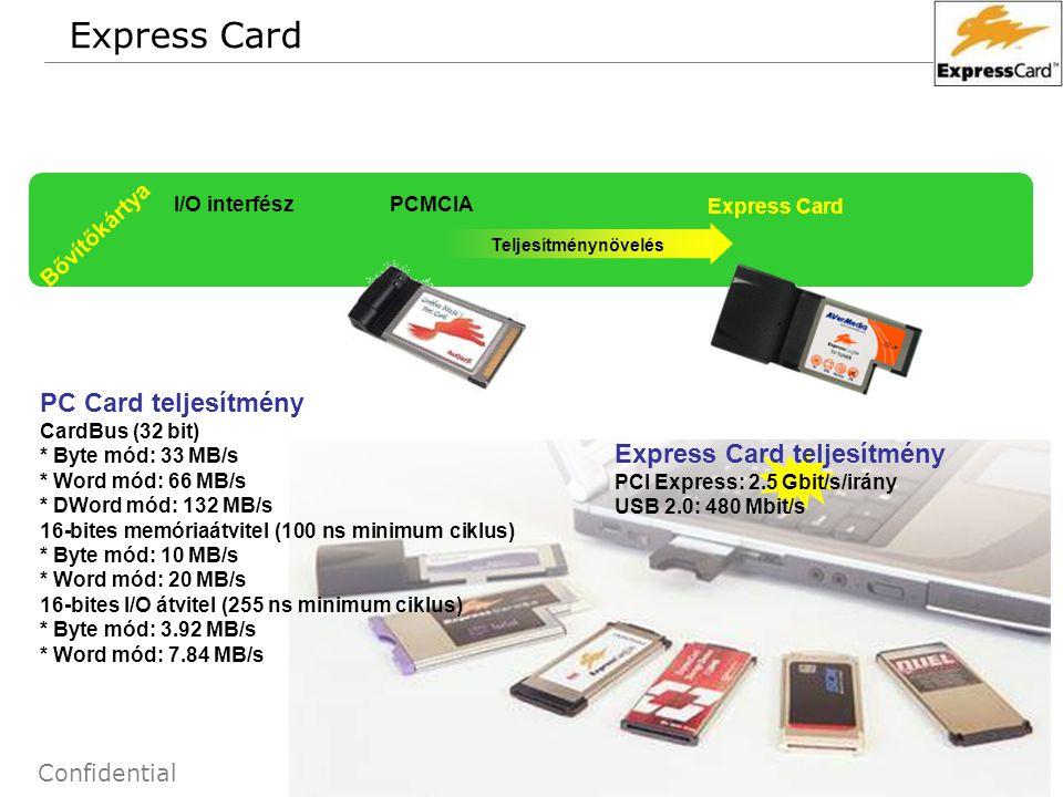 52 Confidential Express Card Bővítőkártya I/O interfész PCMCIA Express Card Teljesítménynövelés PC Card teljesítmény CardBus (32 bit) * Byte mód: 33 M