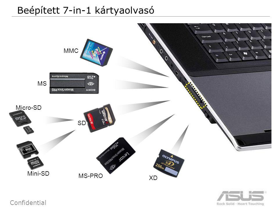 57 Confidential Beépített 7-in-1 kártyaolvasó MMC SD MS MS-PRO XD Micro-SD Mini-SD