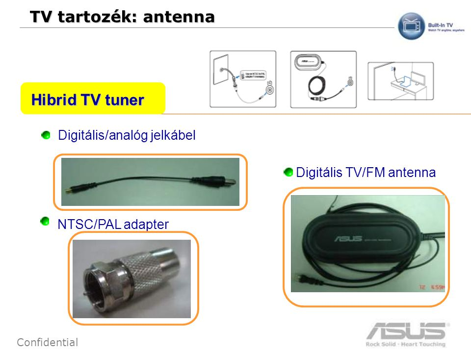 65 Confidential TV tartozék: antenna NTSC/PAL adapter Digitális/analóg jelkábel Digitális TV/FM antenna Hibrid TV tuner