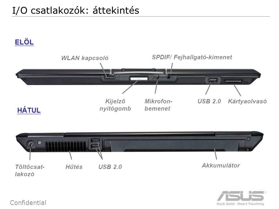 9 Confidential JOBB OLDAL BAL OLDAL ODD USB 2.0 HDMI Hűtés Kensington zár E-SATA Express Card 54/34 VGA ki I/O csatlakozók: áttekintés Modem csatlakozó (RJ-11) LAN csatlakozó (RJ-45) TV-bemenet 1394