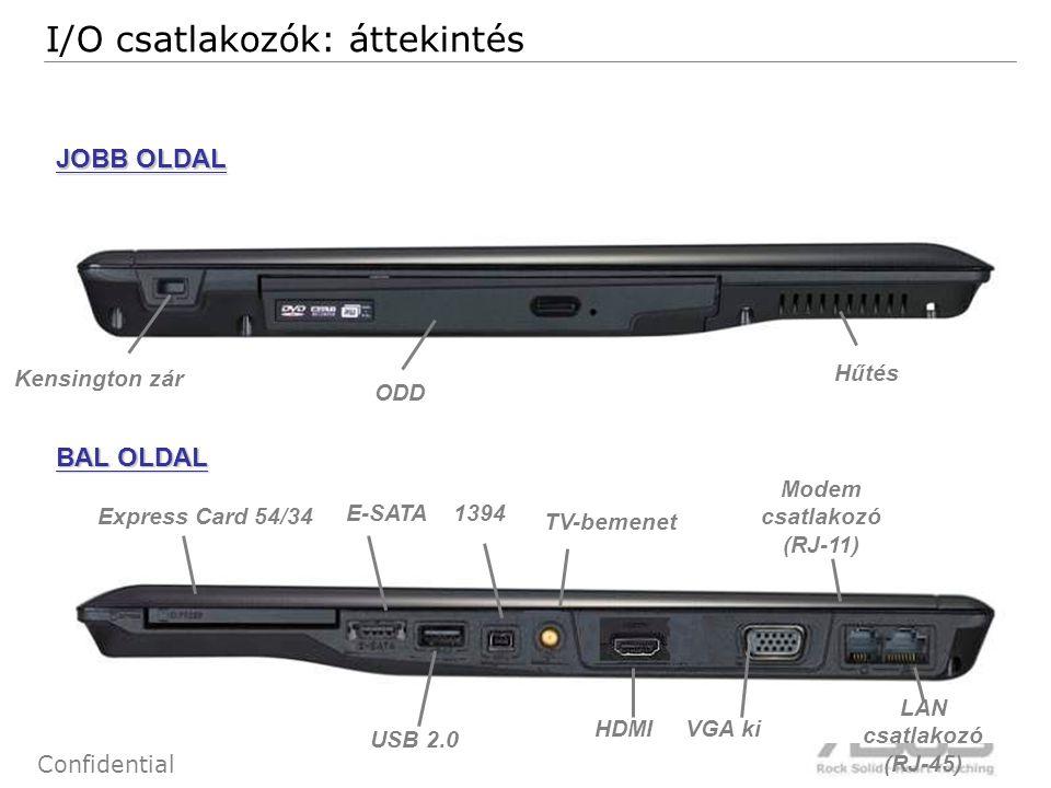 9 Confidential JOBB OLDAL BAL OLDAL ODD USB 2.0 HDMI Hűtés Kensington zár E-SATA Express Card 54/34 VGA ki I/O csatlakozók: áttekintés Modem csatlakoz
