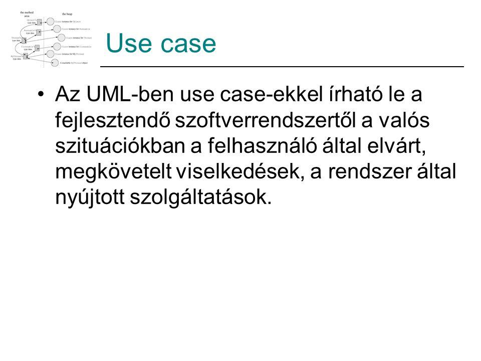 Use case Az UML-ben use case-ekkel írható le a fejlesztendő szoftverrendszertől a valós szituációkban a felhasználó által elvárt, megkövetelt viselkedések, a rendszer által nyújtott szolgáltatások.