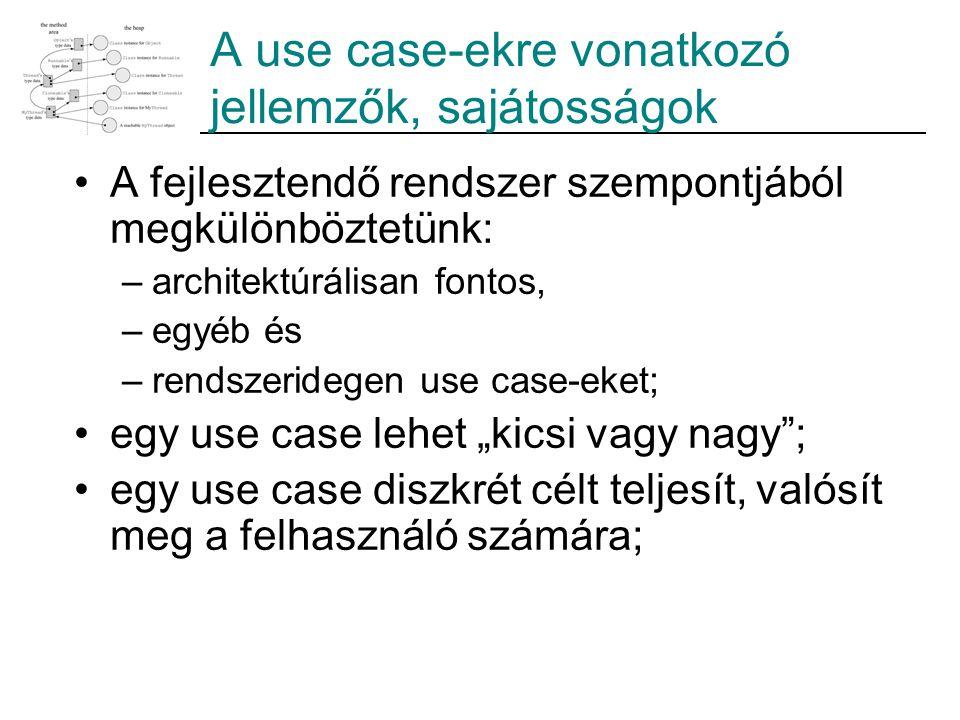 """A use case-ekre vonatkozó jellemzők, sajátosságok A fejlesztendő rendszer szempontjából megkülönböztetünk: –architektúrálisan fontos, –egyéb és –rendszeridegen use case-eket; egy use case lehet """"kicsi vagy nagy ; egy use case diszkrét célt teljesít, valósít meg a felhasználó számára;"""