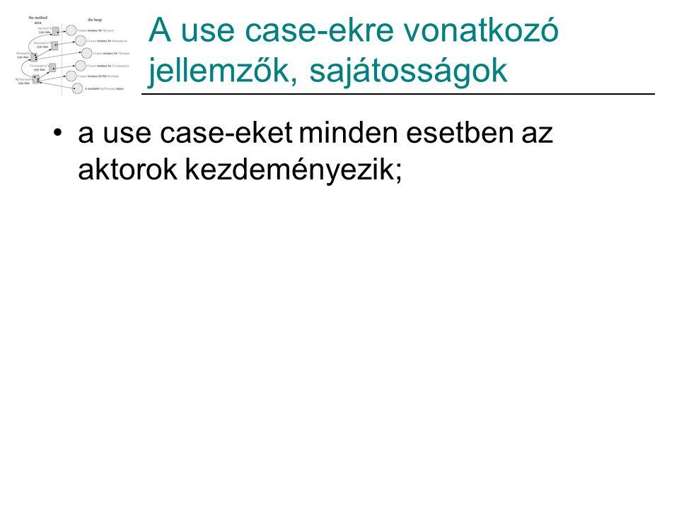A use case-ekre vonatkozó jellemzők, sajátosságok a use case-eket minden esetben az aktorok kezdeményezik;