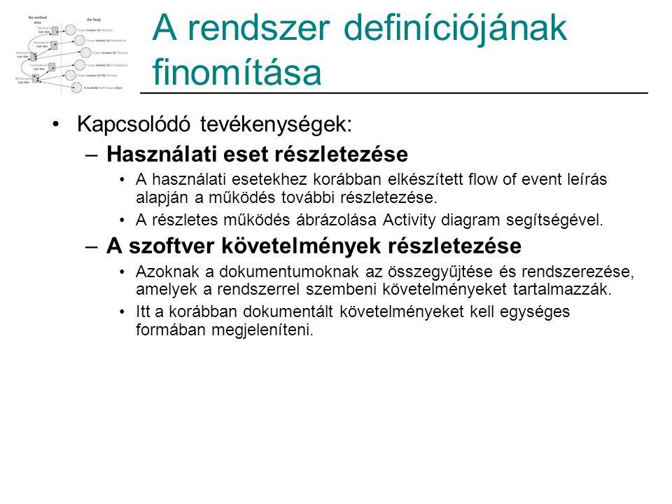 Kapcsolódó tevékenységek: –Használati eset részletezése A használati esetekhez korábban elkészített flow of event leírás alapján a működés további részletezése.