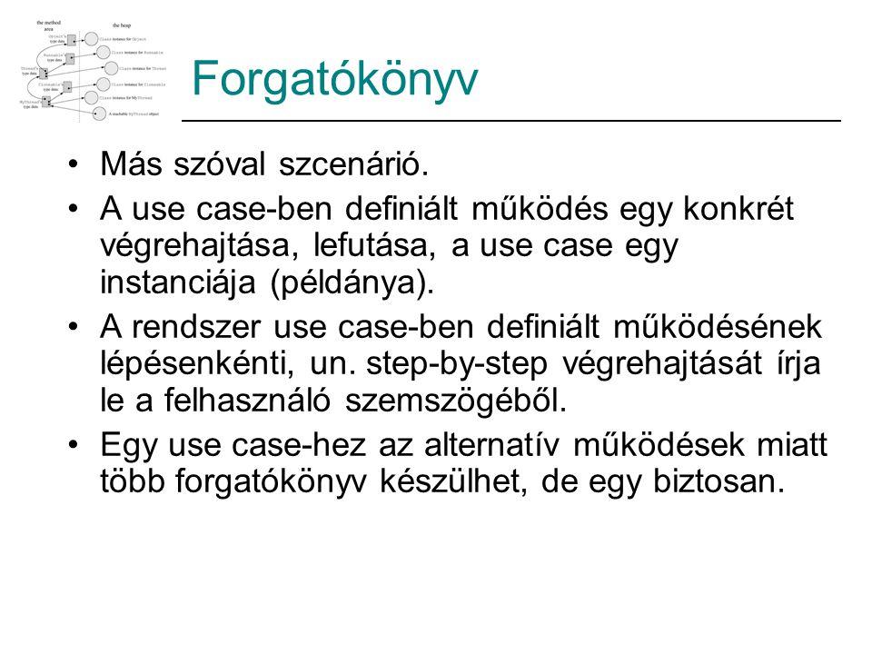 Forgatókönyv Más szóval szcenárió. A use case-ben definiált működés egy konkrét végrehajtása, lefutása, a use case egy instanciája (példánya). A rends
