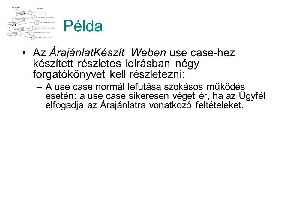 Példa Az ÁrajánlatKészít_Weben use case-hez készített részletes leírásban négy forgatókönyvet kell részletezni: –A use case normál lefutása szokásos m