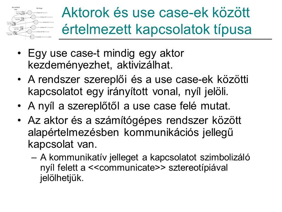 Aktorok és use case-ek között értelmezett kapcsolatok típusa Egy use case-t mindig egy aktor kezdeményezhet, aktivizálhat. A rendszer szereplői és a u