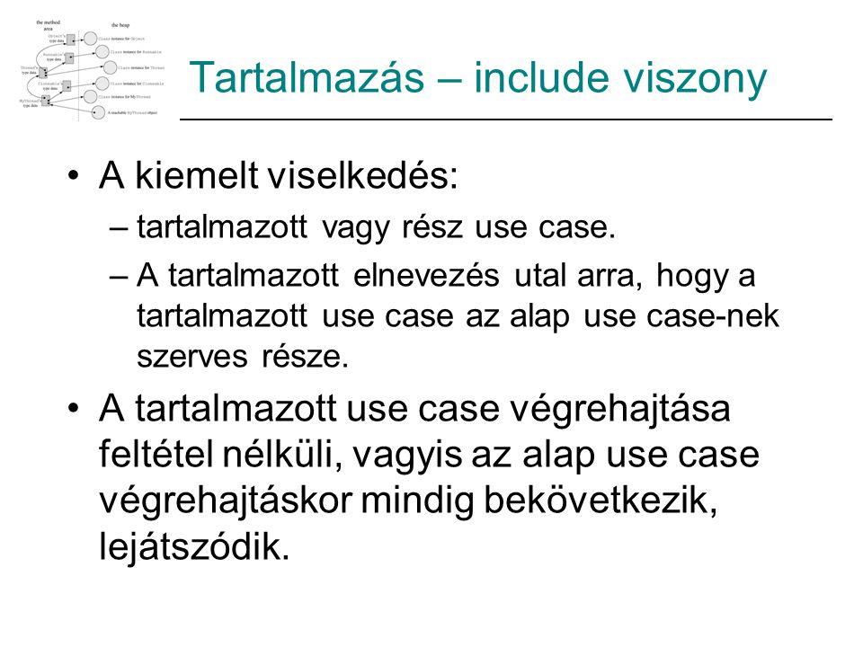 Tartalmazás – include viszony A kiemelt viselkedés: –tartalmazott vagy rész use case. –A tartalmazott elnevezés utal arra, hogy a tartalmazott use cas