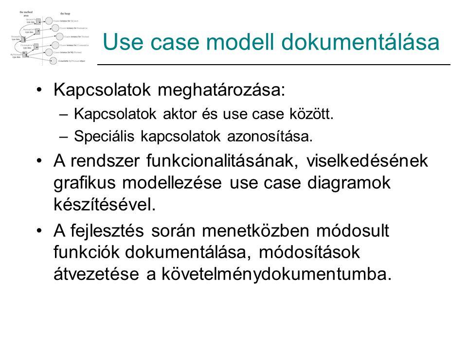 Use case modell dokumentálása Kapcsolatok meghatározása: –Kapcsolatok aktor és use case között. –Speciális kapcsolatok azonosítása. A rendszer funkcio