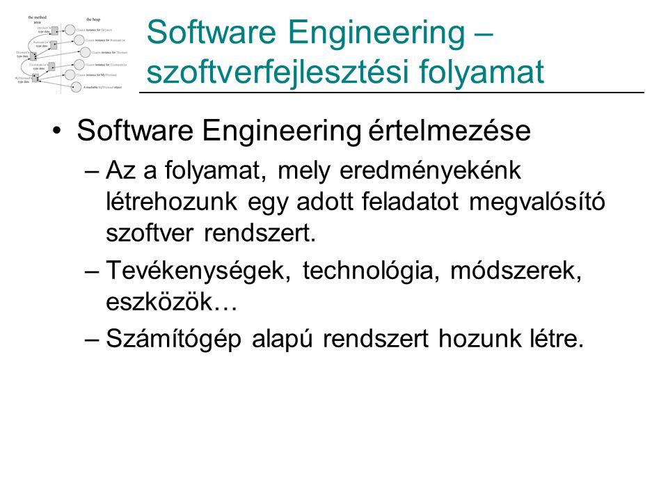 Software Engineering – szoftverfejlesztési folyamat Software Engineering értelmezése –Az a folyamat, mely eredményekénk létrehozunk egy adott feladato