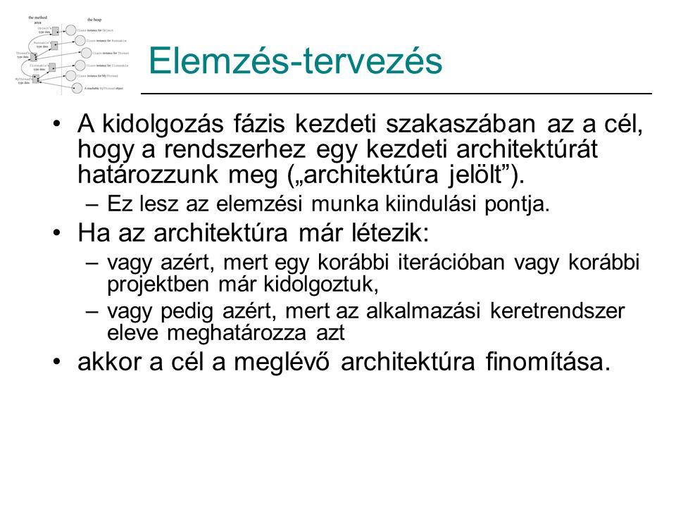 """Elemzés-tervezés A kidolgozás fázis kezdeti szakaszában az a cél, hogy a rendszerhez egy kezdeti architektúrát határozzunk meg (""""architektúra jelölt )."""