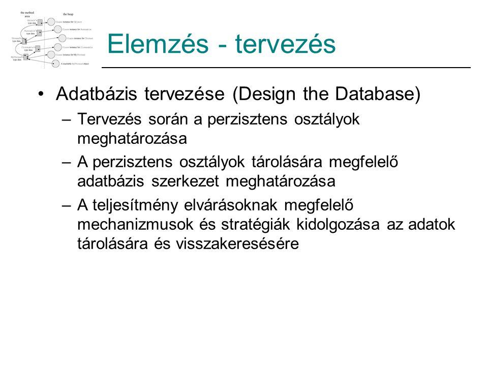 Elemzés - tervezés Adatbázis tervezése (Design the Database) –Tervezés során a perzisztens osztályok meghatározása –A perzisztens osztályok tárolására