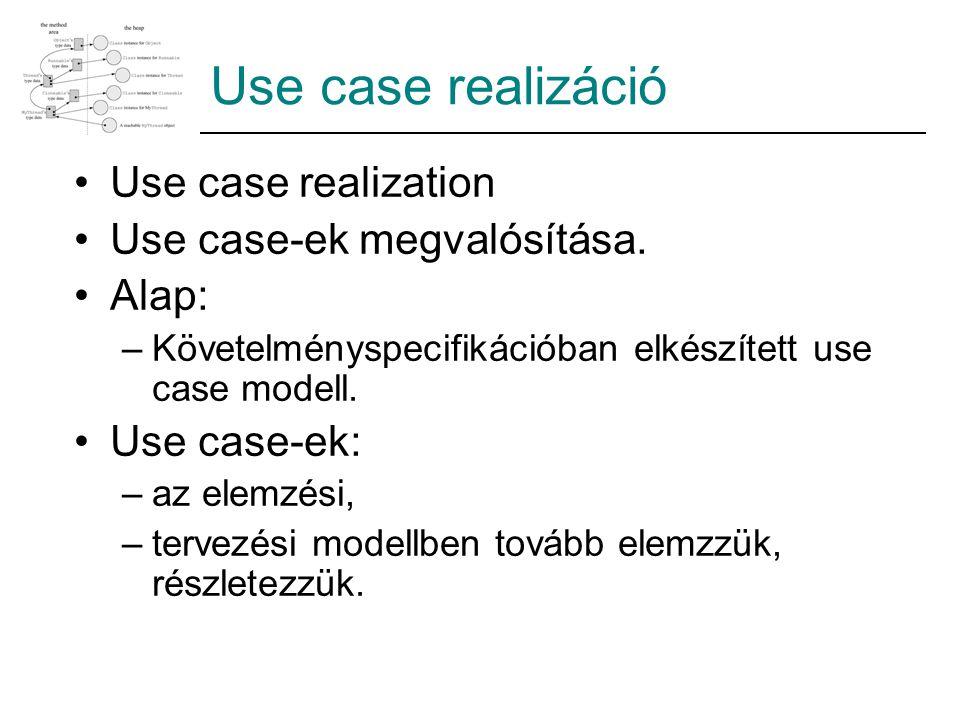 Use case realizáció Use case realization Use case-ek megvalósítása. Alap: –Követelményspecifikációban elkészített use case modell. Use case-ek: –az el