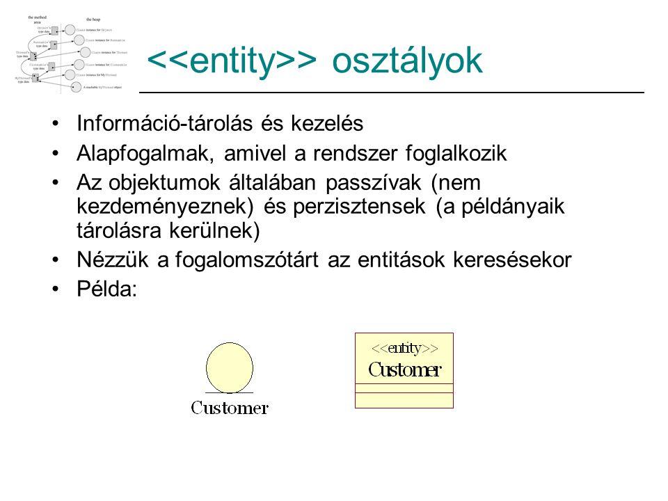 > osztályok Információ-tárolás és kezelés Alapfogalmak, amivel a rendszer foglalkozik Az objektumok általában passzívak (nem kezdeményeznek) és perzis