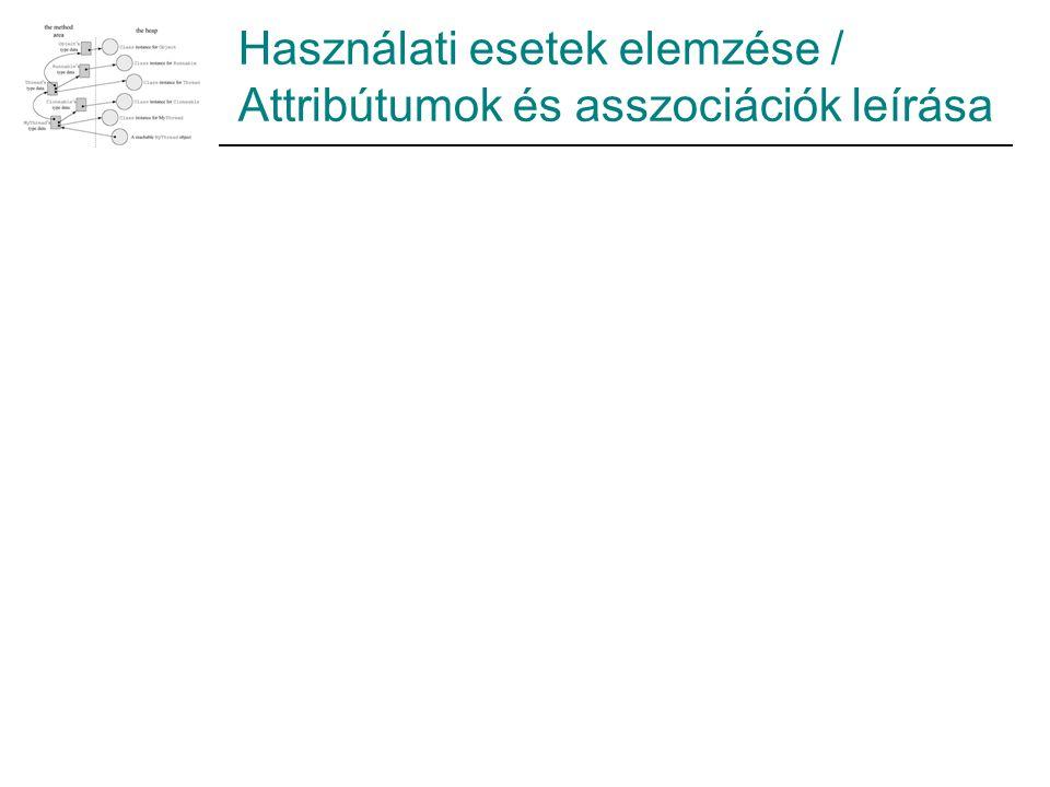 Használati esetek elemzése / Attribútumok és asszociációk leírása
