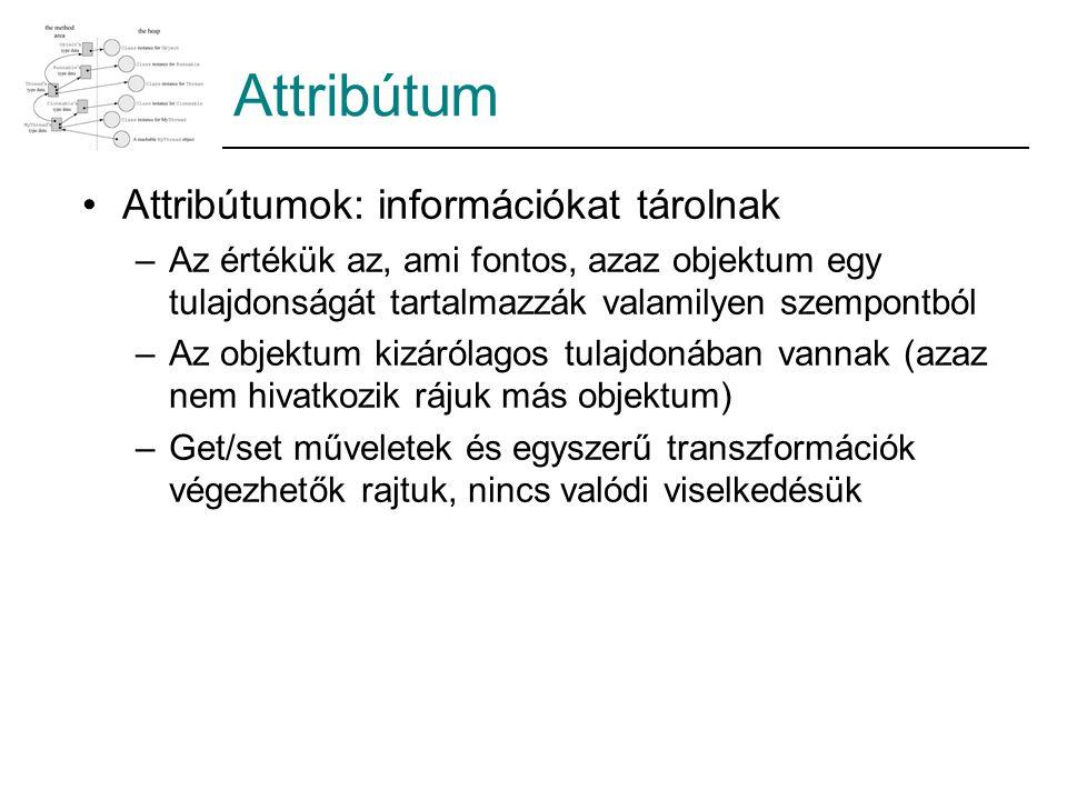 Attribútum Attribútumok: információkat tárolnak –Az értékük az, ami fontos, azaz objektum egy tulajdonságát tartalmazzák valamilyen szempontból –Az ob
