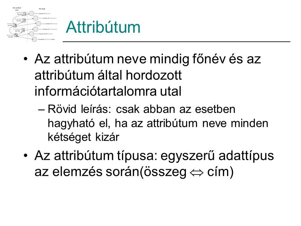 Attribútum Az attribútum neve mindig főnév és az attribútum által hordozott információtartalomra utal –Rövid leírás: csak abban az esetben hagyható el, ha az attribútum neve minden kétséget kizár Az attribútum típusa: egyszerű adattípus az elemzés során(összeg  cím)