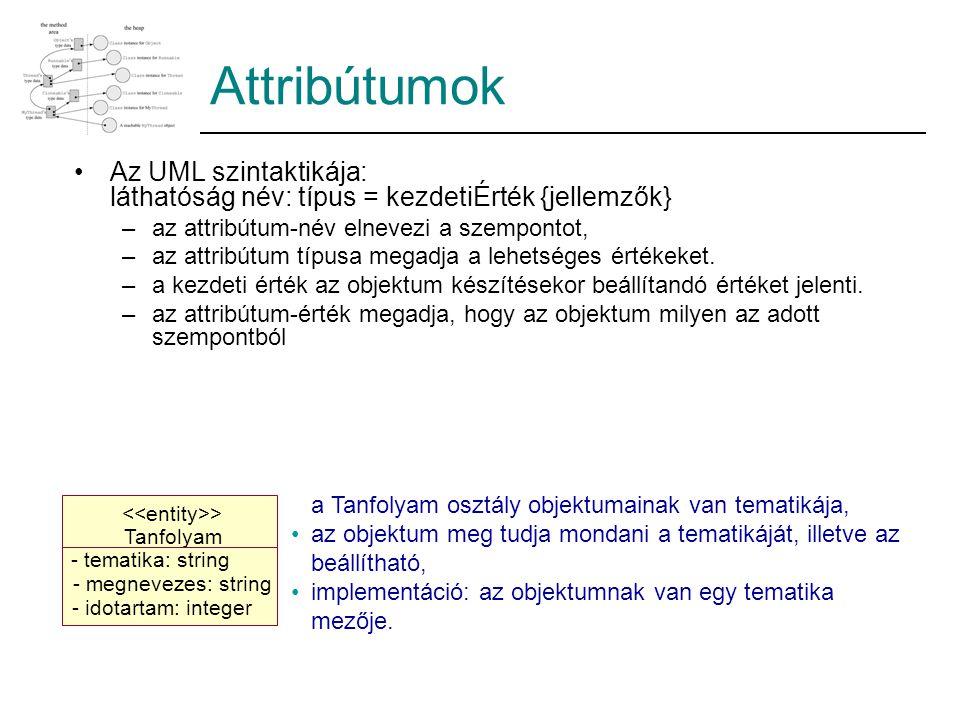 Attribútumok Az UML szintaktikája: láthatóság név: típus = kezdetiÉrték {jellemzők} –az attribútum-név elnevezi a szempontot, –az attribútum típusa me