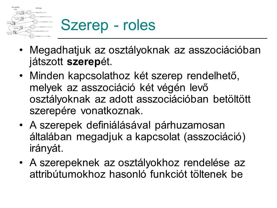 Szerep - roles Megadhatjuk az osztályoknak az asszociációban játszott szerepét. Minden kapcsolathoz két szerep rendelhető, melyek az asszociáció két v