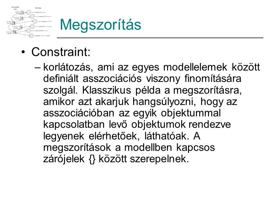 Megszorítás Constraint: –korlátozás, ami az egyes modellelemek között definiált asszociációs viszony finomítására szolgál. Klasszikus példa a megszorí