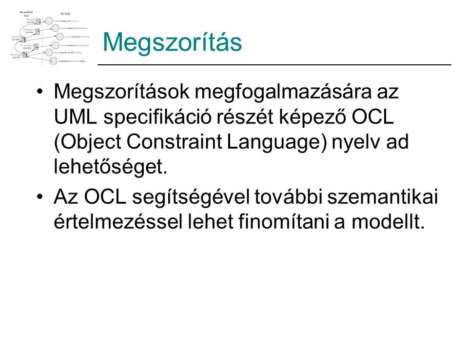 Megszorítás Megszorítások megfogalmazására az UML specifikáció részét képező OCL (Object Constraint Language) nyelv ad lehetőséget. Az OCL segítségéve