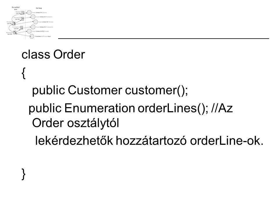 class Order { public Customer customer(); public Enumeration orderLines(); //Az Order osztálytól lekérdezhetők hozzátartozó orderLine-ok. }