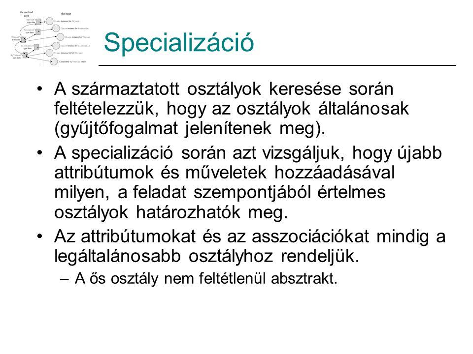 Specializáció A származtatott osztályok keresése során feltételezzük, hogy az osztályok általánosak (gyűjtőfogalmat jelenítenek meg). A specializáció