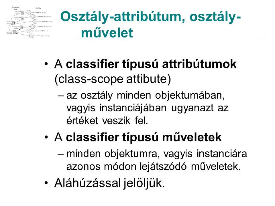 Osztály-attribútum, osztály- művelet A classifier típusú attribútumok (class-scope attibute) –az osztály minden objektumában, vagyis instanciájában ug