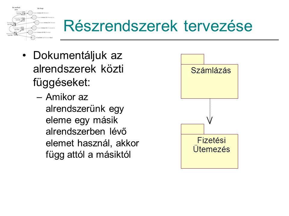 Részrendszerek tervezése Dokumentáljuk az alrendszerek közti függéseket: –Amikor az alrendszerünk egy eleme egy másik alrendszerben lévő elemet haszná