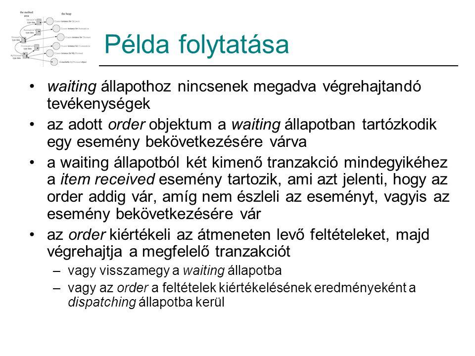Példa folytatása waiting állapothoz nincsenek megadva végrehajtandó tevékenységek az adott order objektum a waiting állapotban tartózkodik egy esemény bekövetkezésére várva a waiting állapotból két kimenő tranzakció mindegyikéhez a item received esemény tartozik, ami azt jelenti, hogy az order addig vár, amíg nem észleli az eseményt, vagyis az esemény bekövetkezésére vár az order kiértékeli az átmeneten levő feltételeket, majd végrehajtja a megfelelő tranzakciót –vagy visszamegy a waiting állapotba –vagy az order a feltételek kiértékelésének eredményeként a dispatching állapotba kerül