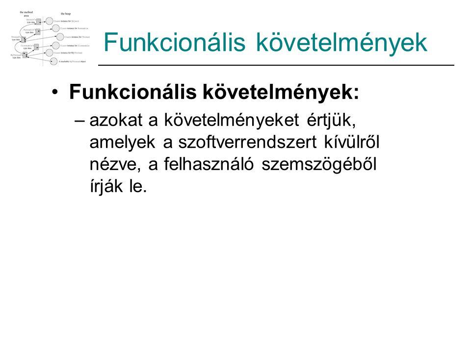 Funkcionális követelmények Funkcionális követelmények: –azokat a követelményeket értjük, amelyek a szoftverrendszert kívülről nézve, a felhasználó sze