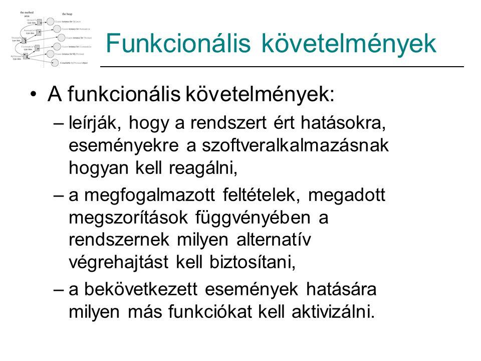 Funkcionális követelmények A funkcionális követelmények: –leírják, hogy a rendszert ért hatásokra, eseményekre a szoftveralkalmazásnak hogyan kell rea