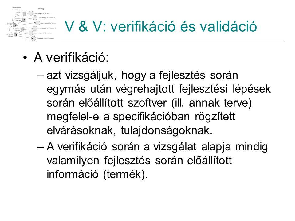 V & V: verifikáció és validáció A verifikáció: –azt vizsgáljuk, hogy a fejlesztés során egymás után végrehajtott fejlesztési lépések során előállított szoftver (ill.