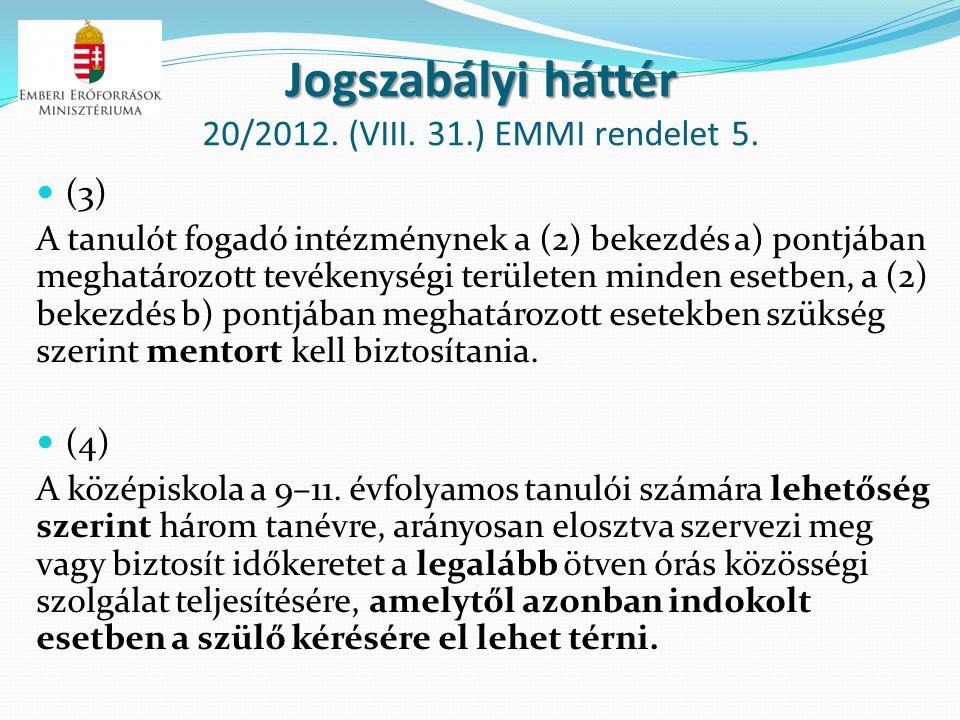 Jogszabályi háttér Jogszabályi háttér 20/2012. (VIII. 31.) EMMI rendelet 5. (3) A tanulót fogadó intézménynek a (2) bekezdés a) pontjában meghatározot