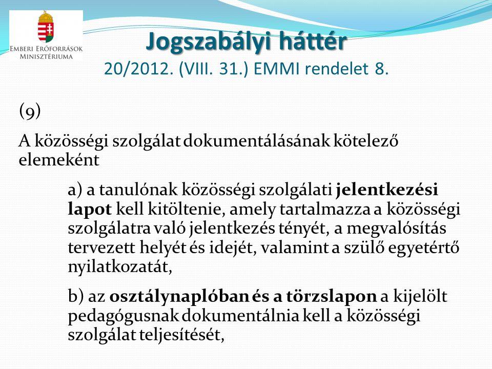 Jogszabályi háttér Jogszabályi háttér 20/2012. (VIII. 31.) EMMI rendelet 8. (9) A közösségi szolgálat dokumentálásának kötelező elemeként a) a tanulón