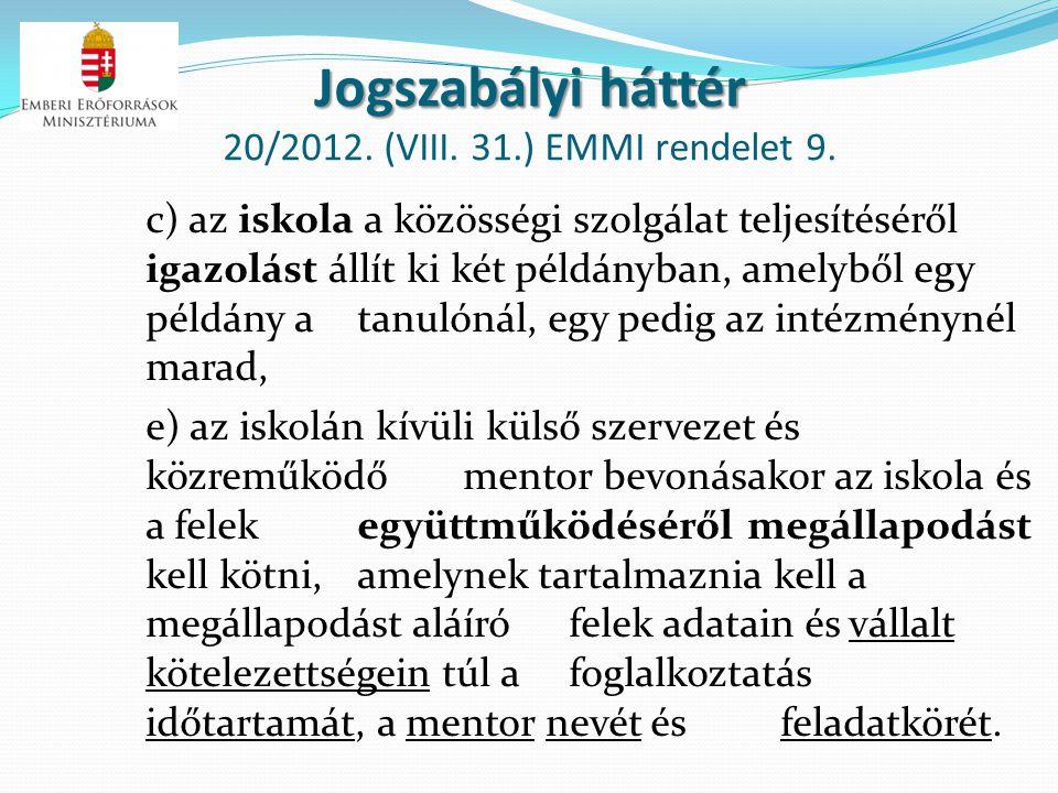 Jogszabályi háttér Jogszabályi háttér 20/2012. (VIII. 31.) EMMI rendelet 9. c) az iskola a közösségi szolgálat teljesítéséről igazolást állít ki két p