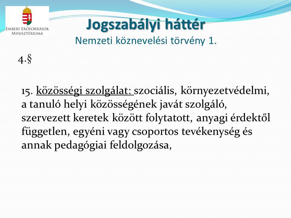 Jogszabályi háttér Jogszabályi háttér Nemzeti köznevelési törvény 1. 4.§ 15. közösségi szolgálat: szociális, környezetvédelmi, a tanuló helyi közösség
