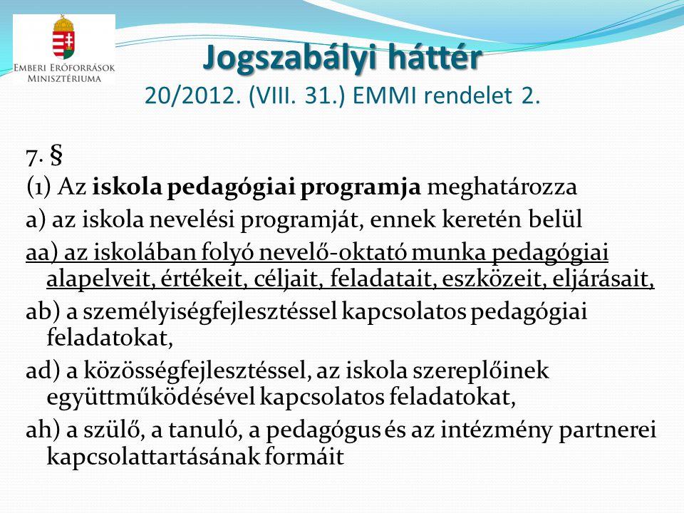 Jogszabályi háttér Jogszabályi háttér 20/2012. (VIII. 31.) EMMI rendelet 2. 7. § (1) Az iskola pedagógiai programja meghatározza a) az iskola nevelési