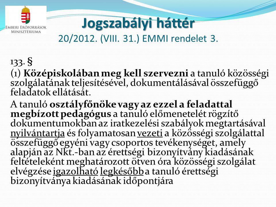 Jogszabályi háttér Jogszabályi háttér 20/2012. (VIII. 31.) EMMI rendelet 3. 133. § (1) Középiskolában meg kell szervezni a tanuló közösségi szolgálatá