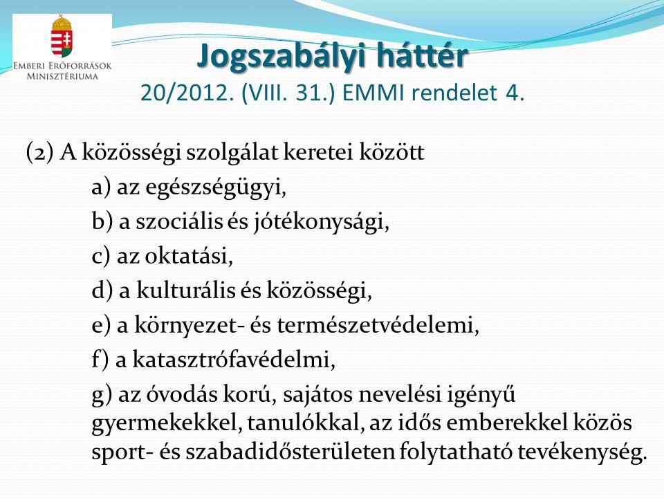 Jogszabályi háttér Jogszabályi háttér 20/2012. (VIII. 31.) EMMI rendelet 4. (2) A közösségi szolgálat keretei között a) az egészségügyi, b) a szociáli